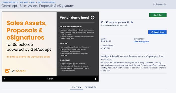 Salesforce GetAccept App Exchange