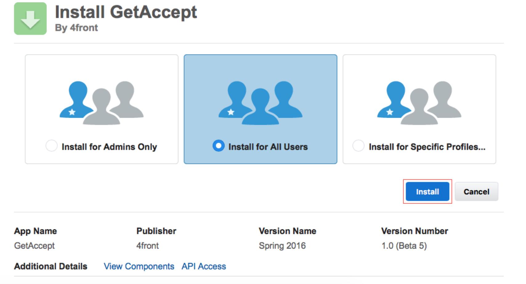 Salesforce installation GetAccept
