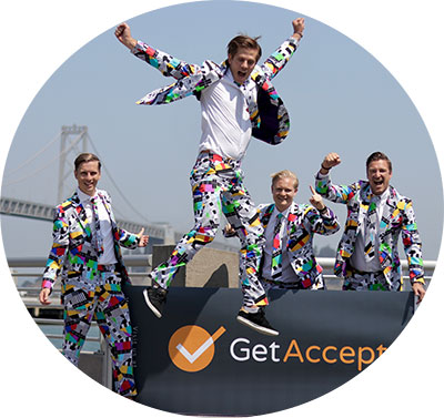 The GetAccept founders in their famous suits
