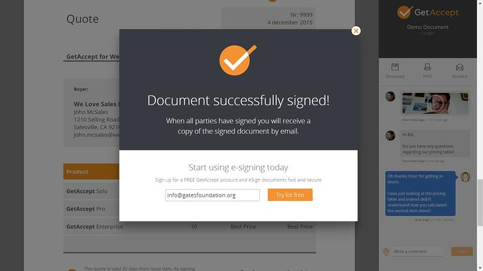 The GetAccept electronic signature tool