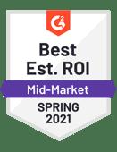 G2 Best estimated ROI 2021
